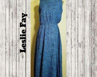 Vintage Leslie Fay Floral Dress Size 10P
