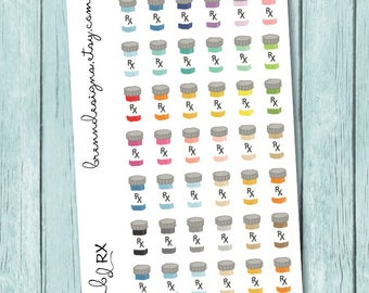 Prescription Bottle Stickers, Rx Icons, Medication Reminders, Health and Fitness Stickers, Icon Planner Stickers