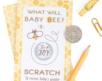 Gender Reveal Scratch Off Cards, what will it bee gender reveal, gender reveal party, boy or girl reveal, baby shower game, PRINTED card