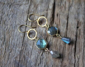 Gold Hammered Hoop and Labradorite Hexagon Earrings