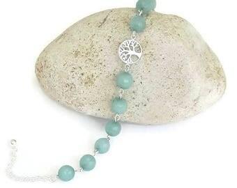 Tree of life bracelet, jade bracelet, gemstone bracelet, sterling silver tree, family tree bracelet, green bracelet, gemstone tree, gifts