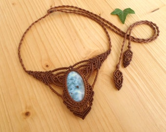 Larimar macrame necklace, macrame jewelry, tribal necklace, macrame stone, gemstone necklace, larimar jewelry, gypsy necklace, elven jewelry