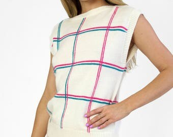 Vintage 1980s Knit Plaid Sweater Vest Sleeveless Windowpane Check White Pink Blue Ribbed