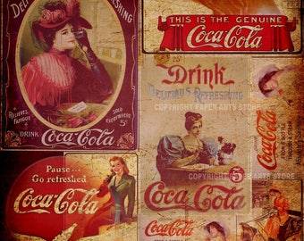 Coca Cola Vintage papers Commercial Use ok. Digital Scrapbooking Papers designer pack CU