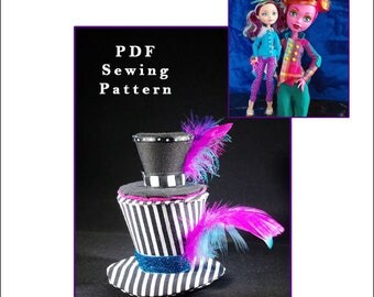 """MAD BAZAAR Top Hat only Pattern for Fashion Dolls like Pullip, Blythe, 17"""" and Regular-sized Monster High, etc. - Instant PDF Download"""