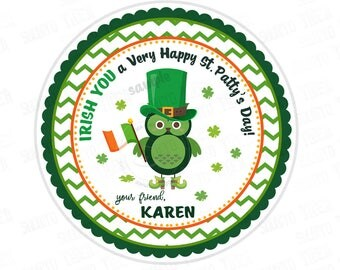 """St Patrick's Day Printable Tags-Happy St Patrick's Day-D.I.Y Tags-Owl St Patrick's Day- Personalized Stickers (You Print) 2.5"""" tag"""