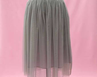 Silver grey ballerina tulle skirt with a satin waistband | calf length skirt| Bridal wear | prom wear