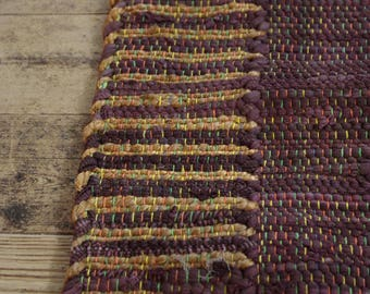 Brown Cotton and Jute Runner Rag Rug 64 x 181cm Hand Made Recycled Boho Hippie Loom Woven Traditional