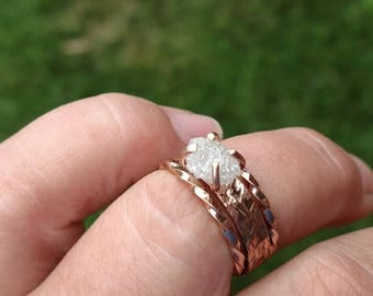 Rose Gold Engagement Ring Raw Diamond Ring Uncut Diamond Rough Diamond Wedding Band Gold or Rose Gold White Diamond Ring One Two Three Carat