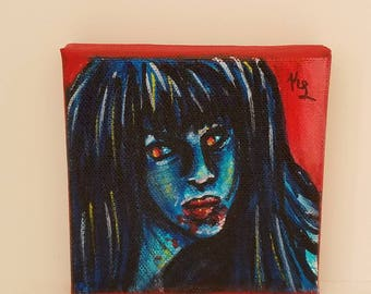 Vampire Acrylic Painting --- Horror --- 4x4 --- Stretched Cotton Canvas