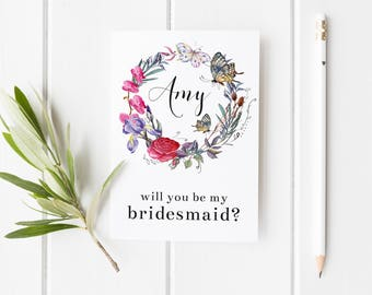 Bridesmaid Card, Bridesmaid Proposal, Butterfly Wedding Card, Will You Be My Bridesmaid? Maid Of Honor Card, Card For Bridesmaid, Fairytale