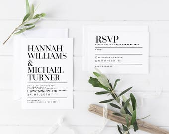 Modern Wedding Invitation, Simple Wedding Invite, Classy Wedding Invite, Ultra Modern Save The Date, Typographic Wedding Invitation, RSVP