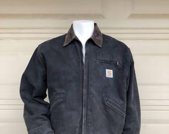 Vintage Carhartt Jacket Black Canvas with Corduroy Collar Distressed Size 48 Regular