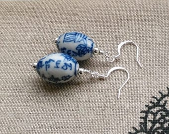 Blue willow inspired white and blue ceramic and silver earrings