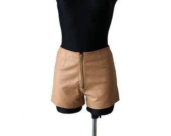 Vintage Sandy Genuine Leather Mini Shorts XS Size
