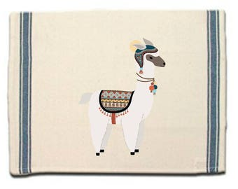 Alpaca in hat Kitchen Towel,Alpaca lover gift,Tea Towel,Flour Sack Material, Dish Towel,Flour Sack Kitchen Towel,Whimsical Dish Cloth