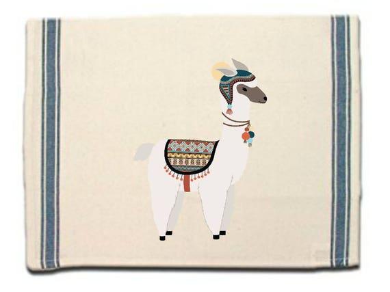 Alpaca in hat Kitchen Towel,Dish Towel,Tea Towel,Flour Sack Material,Alpaca Dish Towels,Flour Sack Kitchen Towel,Whimsical Dish Cloth