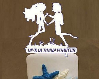 Scuba Divers Cake Topper for the Underwater Wedding Cake Topper.  Let's Dive In, Dive Buddies Forever