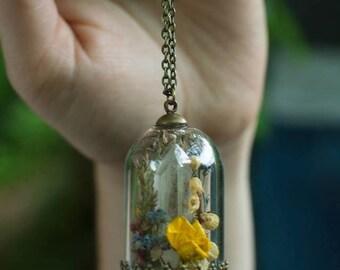Secret garden * vial terrarium necklace, bronze wild flowers and natural stone