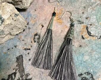 Black Tassel Earrings, Rayon Black Boho Tassel Earrings, Silver Tassel Earrings, Bridesmaid Gift, Boho Statement Jewelry, Stylish Earrings