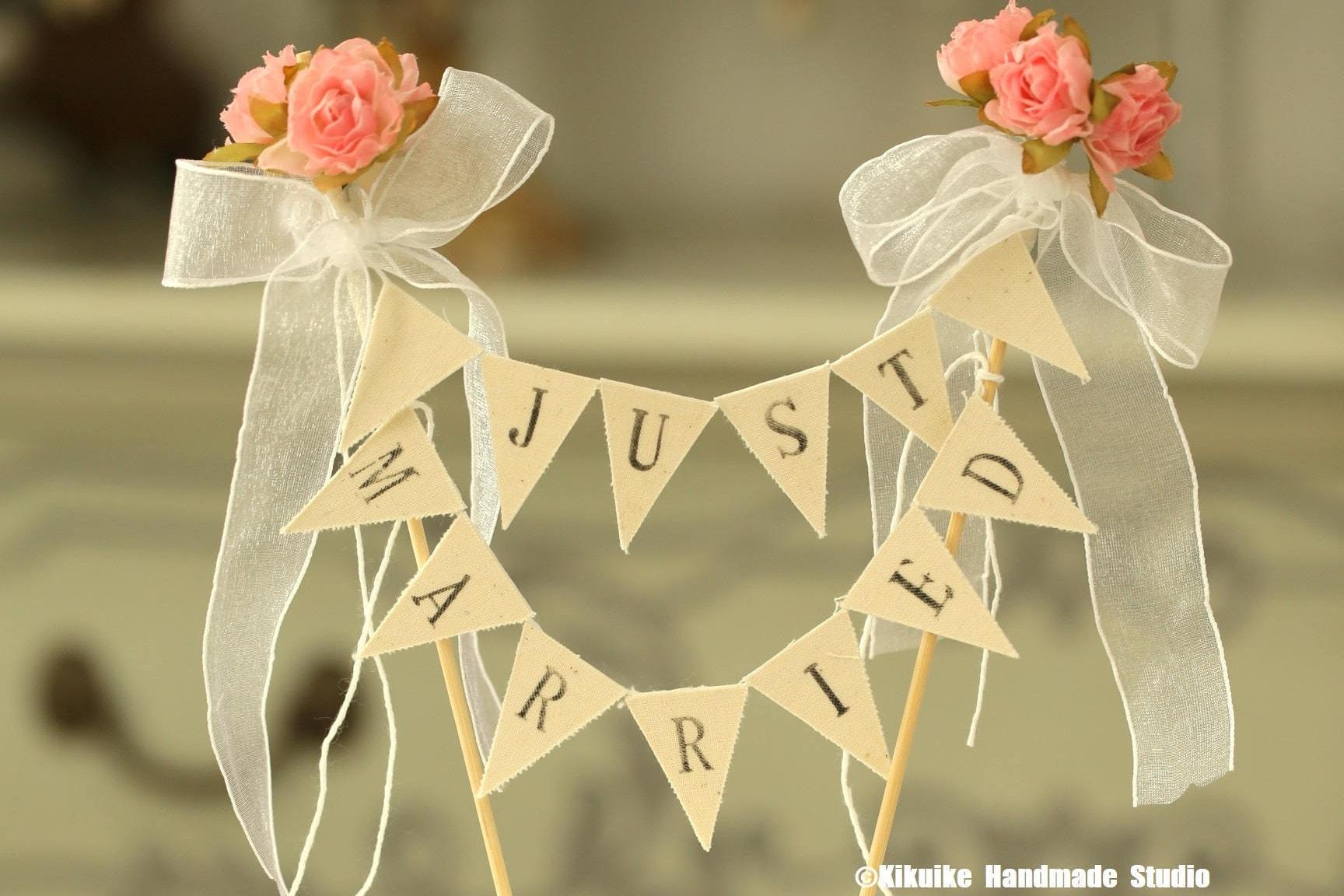 Just Married Wedding Cake Banner,Flower Cake bunting,Rustic Wedding ...
