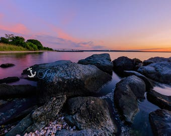 Head's Beach Views ~ Jamestown, RI, Narragansett Bay, Jamestown Bridge, Art, Artwork, Photograph, Joules, New England, Sunset, Ocean,Coastal
