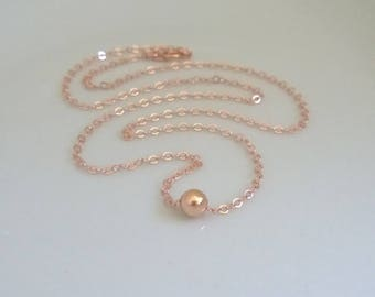 Rose gold-filled single bead necklace; simple rose gold necklace; rose gold bead necklace