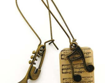 Sheet music and trumpet earrings