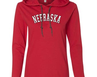 Women's NEBRASKA Arch Long Sleeve Hooded Tee Shirt Hoody With Relaxed Unlined Hood With Contrasting Drawcord