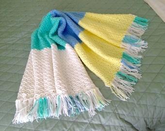 Crocheted Baby Blanket, Crochet Pastel Afghan, Crochet Afghan, Baby Boy Blanket, Gender Nuetral Baby Blanket, Yellow White Blue Green Afghan