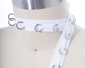 White Cotton Silver Eyelet Tape/ Cotton White Lacing Trim/ Eyelet Tape with Silver Rings/ Perfect for Chockers, Lacing and Garter Belts