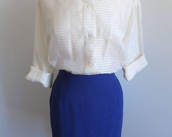 Emanuel Ungaro Royal Blue Pencil Skirt - 12 Large, wool, silk blend, designer vintage