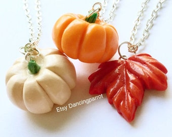 3 necklaces! Pumpkin necklace White pumpkin necklace Red maple leaf necklace Autumn necklace Thanksgiving necklace Cute gift Autumn jewelry