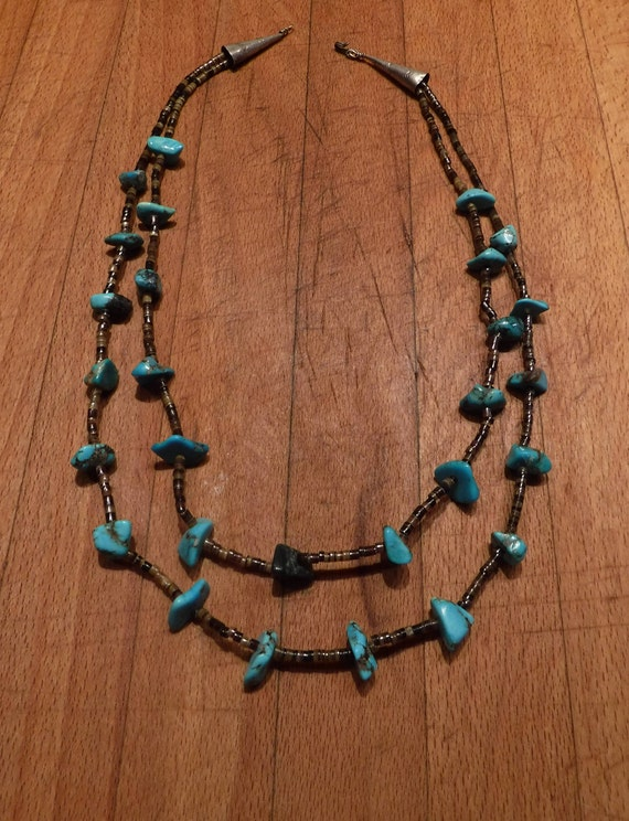 """Sterling Silver Navajo Native American Turquoise Nugget Pendant Necklace 24"""" Vintage 1970's Vintage Silver 57.7 Grams Sterling Silver"""