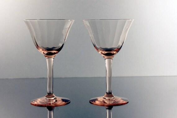 Pink Cordial Glasses, Optic Paneled, Depression Glass, Cocktail Glasses, Set of 2, Barware