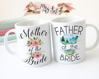 Mother and Father of the Bride, Mug Set, Gift for Mom and Dad, Mother Wedding Gift, Gift For Dad, Coffee Mug, Wedding Gift For Father