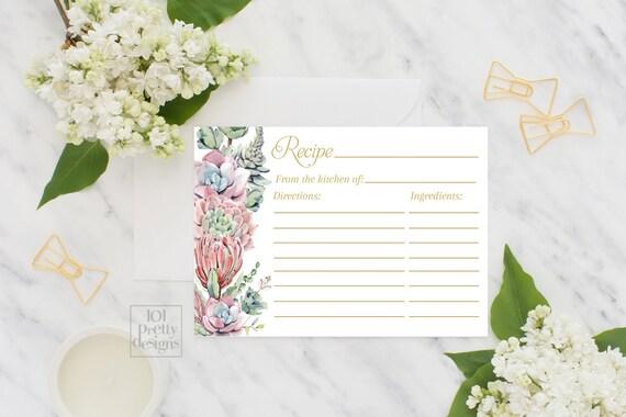 recipe card template bridal shower
