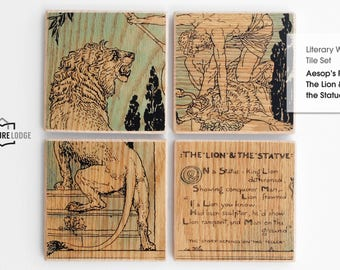 Literary Wall Tile Set: Aesop's Fable – The Lion and the Statue