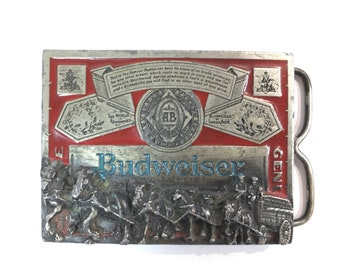 Budweiser Belt Buckle Pewter with Red Enamel Clydesdale Horses Markatron  T-169