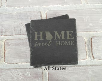 Custom Slate Coasters - All States - Custom Engraved Coasters - Slate Coasters - Custom Coaster Set - Wedding Shower - Housewarming Gift