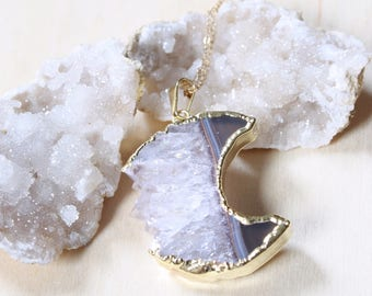 Amethyst Crescent Moon Raw Crystal Necklace, Gold Amethyst Raw Stone Necklace,  Boho Gypsy Jewelry