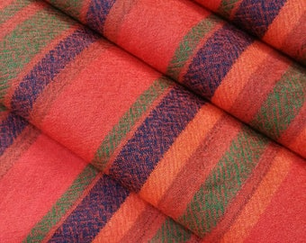 Vintage, double wide, wool flannel kimono fabric with red, orange, green, blue stripes- by the yard