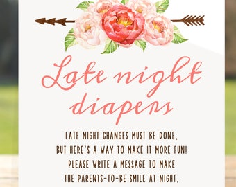 Late night diapers, late night diaper sign, late night diaper game, late night diapers printable, late night diapers floral, diaper messages