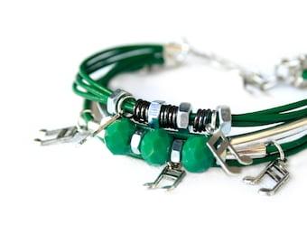 Statement Tribal Music Note Afrofuturistic Bracelet// Colorful Thread Bracelet // Wristpiece African Inspired // Leather Art Music Bracelet