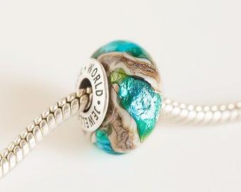 lampwork glass bead organic bead european charms silver core bead large hole