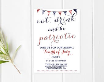 4th Of July BBQ, Fourth Of July Party, Independence Day, BBQ Invitation, American Flag, Summer BBQ Invite, 4th Of July Invitation [232]