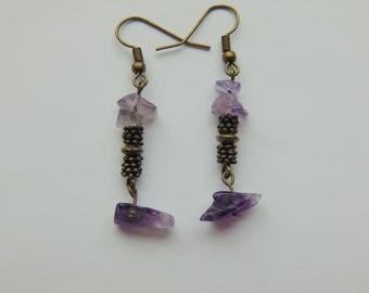 Amethyst and Bronze Drop Earrings
