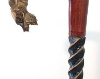 Big Dog wooden walking stick, wood walking cane, dog handle carved cane, dog cane, lupus walking stick, wolf walking stick, wolf cane