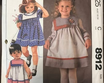 McCalls 8912 - 1980s Nannette Little Girl's Dress with Double Square Collar and Contrast Fabric - Size 5 Chest 24