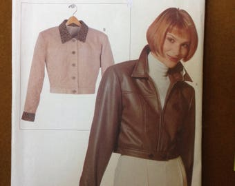 Vogue Elements 9707 - Bolero Length Zipper or Button Front Jacket with Pointed Collar - Sizes 6-24